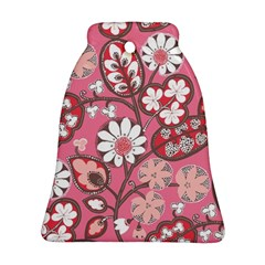Pink Flower Pattern Bell Ornament (Two Sides)