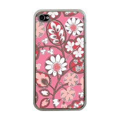 Pink Flower Pattern Apple iPhone 4 Case (Clear)
