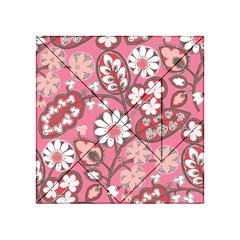 Pink Flower Pattern Acrylic Tangram Puzzle (4  x 4 )