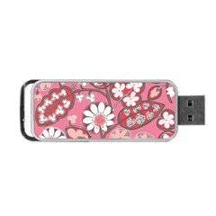 Pink Flower Pattern Portable Usb Flash (two Sides)