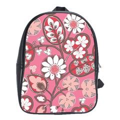 Pink Flower Pattern School Bags (xl)