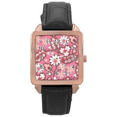Pink Flower Pattern Rose Gold Leather Watch
