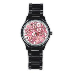Pink Flower Pattern Stainless Steel Round Watch