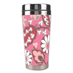 Pink Flower Pattern Stainless Steel Travel Tumblers