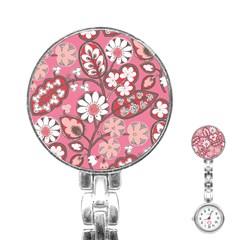 Pink Flower Pattern Stainless Steel Nurses Watch