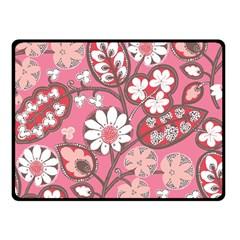 Pink Flower Pattern Double Sided Fleece Blanket (small)