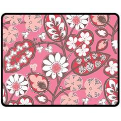 Pink Flower Pattern Double Sided Fleece Blanket (medium)