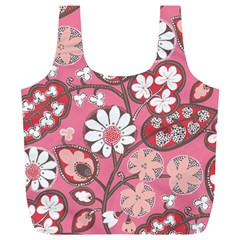 Pink Flower Pattern Full Print Recycle Bags (L)