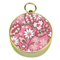 Pink Flower Pattern Gold Compasses