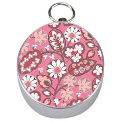 Pink Flower Pattern Silver Compasses