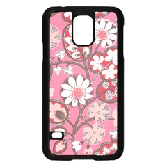 Pink Flower Pattern Samsung Galaxy S5 Case (black)