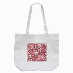 Pink Flower Pattern Tote Bag (white)