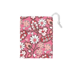 Pink Flower Pattern Drawstring Pouches (Small)