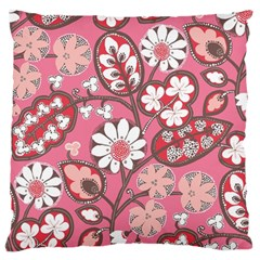 Pink Flower Pattern Large Flano Cushion Case (two Sides)