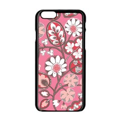Pink Flower Pattern Apple Iphone 6/6s Black Enamel Case