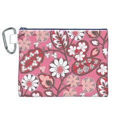 Pink Flower Pattern Canvas Cosmetic Bag (xl)