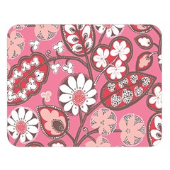 Pink Flower Pattern Double Sided Flano Blanket (large)
