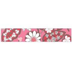 Pink Flower Pattern Flano Scarf (large)