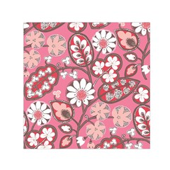 Pink Flower Pattern Small Satin Scarf (square)
