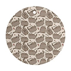 Pusheen Wallpaper Computer Everyday Cute Pusheen Round Ornament (two Sides)