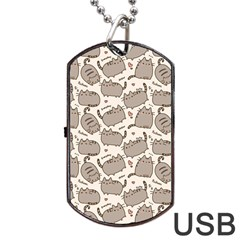 Pusheen Wallpaper Computer Everyday Cute Pusheen Dog Tag USB Flash (Two Sides)