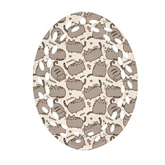 Pusheen Wallpaper Computer Everyday Cute Pusheen Oval Filigree Ornament (Two Sides)