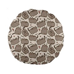 Pusheen Wallpaper Computer Everyday Cute Pusheen Standard 15  Premium Round Cushions