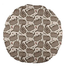 Pusheen Wallpaper Computer Everyday Cute Pusheen Large 18  Premium Flano Round Cushions