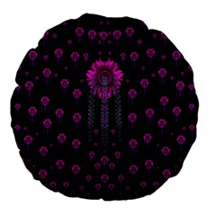 Wonderful Jungle Flowers In The Dark Large 18  Premium Flano Round Cushions