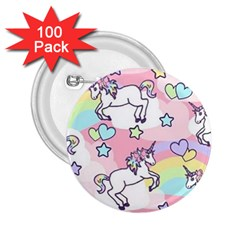 Unicorn Rainbow 2 25  Buttons (100 Pack)