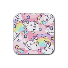 Unicorn Rainbow Rubber Square Coaster (4 Pack)