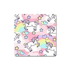 Unicorn Rainbow Square Magnet