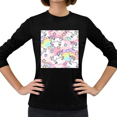 Unicorn Rainbow Women s Long Sleeve Dark T Shirts