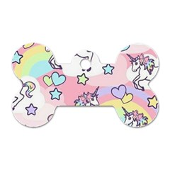 Unicorn Rainbow Dog Tag Bone (One Side)
