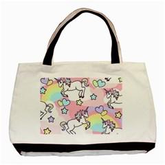 Unicorn Rainbow Basic Tote Bag (two Sides)