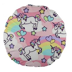 Unicorn Rainbow Large 18  Premium Flano Round Cushions