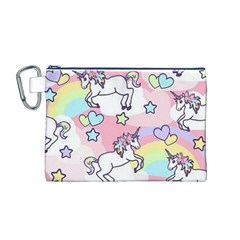 Unicorn Rainbow Canvas Cosmetic Bag (m)