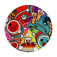 Cute Doodles Wallpaper Background Ornament (round)