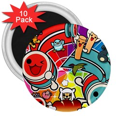 Cute Doodles Wallpaper Background 3  Magnets (10 pack)