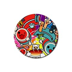 Cute Doodles Wallpaper Background Rubber Round Coaster (4 Pack)