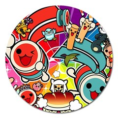 Cute Doodles Wallpaper Background Magnet 5  (round)