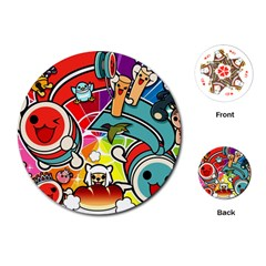 Cute Doodles Wallpaper Background Playing Cards (round)