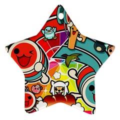 Cute Doodles Wallpaper Background Star Ornament (Two Sides)