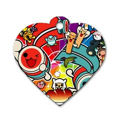 Cute Doodles Wallpaper Background Dog Tag Heart (one Side)