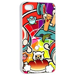 Cute Doodles Wallpaper Background Apple Iphone 4/4s Seamless Case (white)