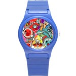 Cute Doodles Wallpaper Background Round Plastic Sport Watch (S) Front