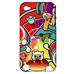 Cute Doodles Wallpaper Background Apple Iphone 4/4s Hardshell Case (pc+silicone)