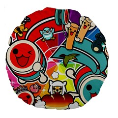 Cute Doodles Wallpaper Background Large 18  Premium Round Cushions