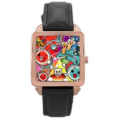 Cute Doodles Wallpaper Background Rose Gold Leather Watch