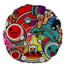 Cute Doodles Wallpaper Background Large 18  Premium Flano Round Cushions